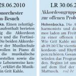 Lausitzer Rundschau vom 28. + 30.06.2010