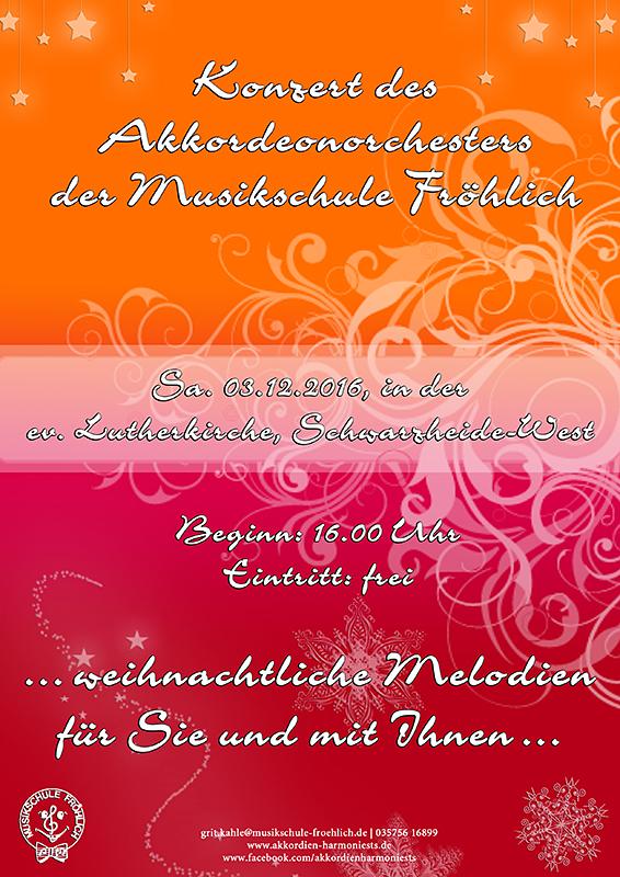 Flyer Schwarzheide Weihnachtskonzert 2016